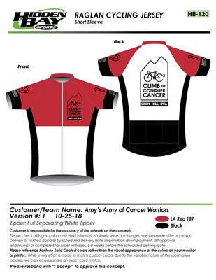 NEW! Red Cycling Jersey – Amy s ArmyRVA f05be6b50